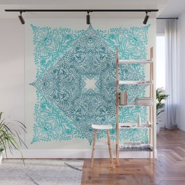 Teal Tangle Square Wall Mural