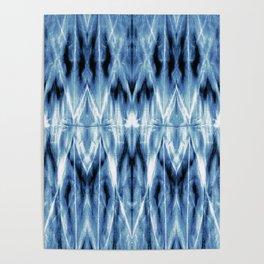 Blue Satin Shibori Argyle Poster