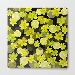 Lime and flowers on black Metal Print