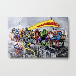 MORE Superheroes Lunch Atop A Skyscraper Metal Print