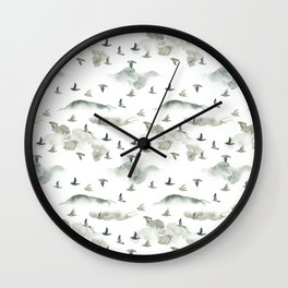 Hand painted green gray watercolor cloud bird pattern Wall Clock