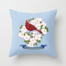 North Carolina State Bird and Flower Throw Pillow