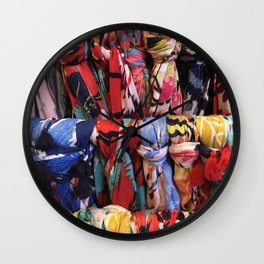 Colorful Scarves Pattern Wall Clock