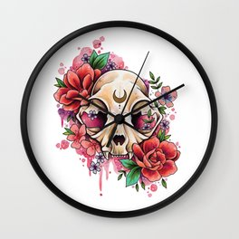 Neo Traditional Cat Skull and Roses Wall Clock