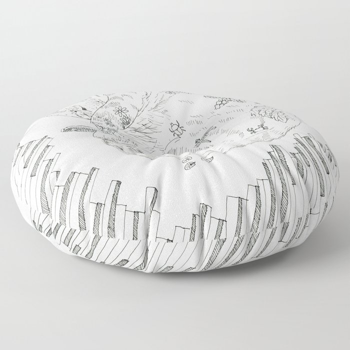 cat and piano Floor Pillow