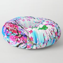 Cherry Blossoms and Butterflies Floor Pillow