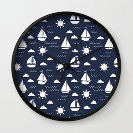 Sailboat Bay // Navy Wall Clock