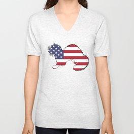 """Ferret """"American Flag"""" Unisex V-Neck"""
