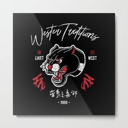 Black Panther Head Tattoo Metal Print