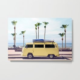 Surfer's Yellow Van Metal Print