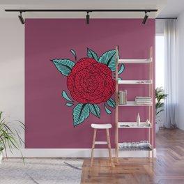Cosmic Rose Red Wall Mural