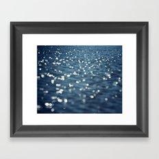 Water Sparkles Photography, Sparkly Ocean, Dark Sea Moonlight Framed Art Print