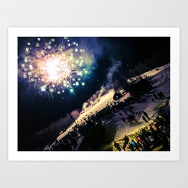 NYE Fireworks on Sugarloaf Mountain in Carrabassett Valley, Maine Art Print