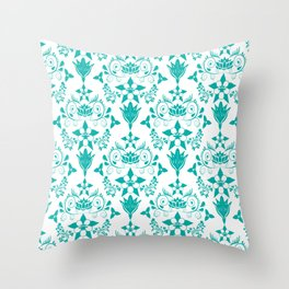Floral Damask in Teal Throw Pillow