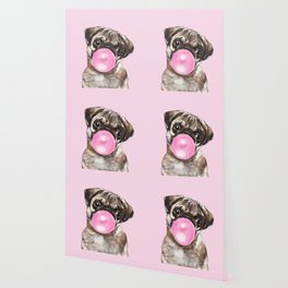 Pug with Pink Bubble Gum Wallpaper
