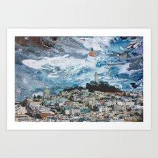 Starry Coit Tower Art Print