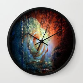 Rose At Misty Lake By Annie Zeno Wall Clock