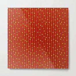 Christmas Baubles on Festive Tinsel Streamers Crimson Metal Print