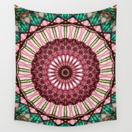Mandala in red, light and dark green Wall Tapestry