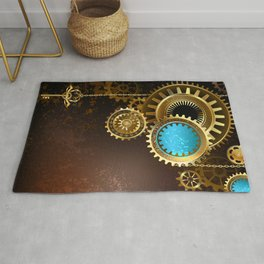 Gears on Rusty Background ( Steampunk ) Rug