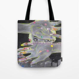 Painted Fingers, Geometric Portrait Tote Bag