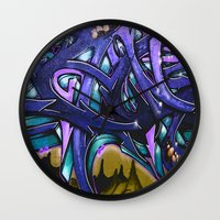 graffiti Wall Clocks featuring Graffiti by Fine2art