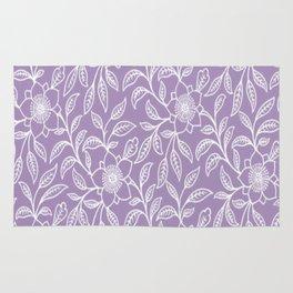 Vintage Lace Floral Lilac Rug