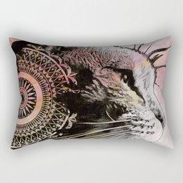 Tides Of Tomorrow (mandala tabby cat drawing, animal portrait) Rectangular Pillow