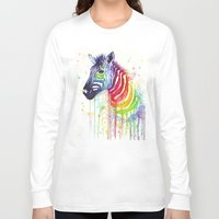 fruit Long Sleeve T-shirts featuring Zebra Watercolor Rainbow Painting   Ode to Fruit Stripes by Olechka