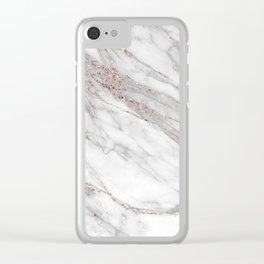 Pink Rose Gold Blush Metallic Glitter Foil on Grey Marble Clear iPhone Case