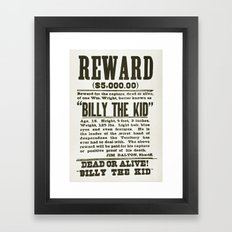 Wanted poster for Billy the Kid Framed Art Print