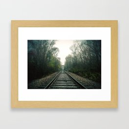 Creepy foggy railroad Framed Art Print