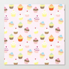 Vintage pink colorful sweet floral cupcakes pattern Canvas Print