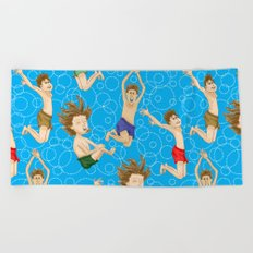 Swimming Fun at the Pond Pattern Beach Towel