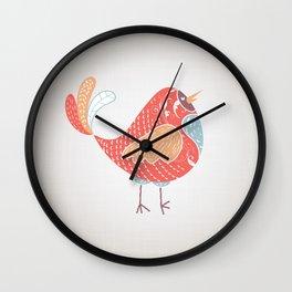 Orange Bird Wall Clock