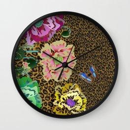 Leopard love flowers Wall Clock