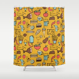 Food Frenzy yellow Shower Curtain