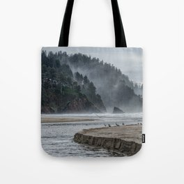 Hills And Mist At Proposal Rock Tote Bag