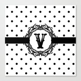 Black Monogram: Letter V Canvas Print