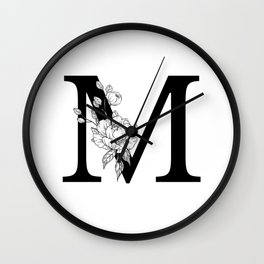 M botanical monogram. Letter initial with peonies Wall Clock