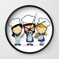 cook Wall Clocks featuring Cook by Jaqueline Teixeira