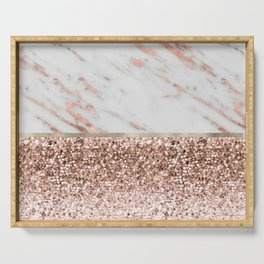 Warm chromatic - rose gold marble Serving Tray