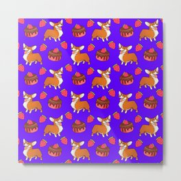 Cute happy playful funny puppy corgi dogs, sweet adorable yummy chocolate cake cartoon and red summer strawberries purple blue design. Metal Print