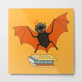 Bat granny book lover Metal Print