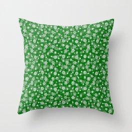 Festive Green and White Christmas Holiday Snowflakes Throw Pillow