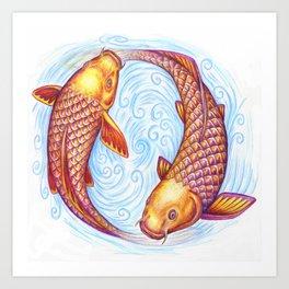 Pisces Fish Yin Yang Mandala Art Print