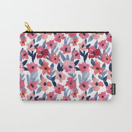 Layered Watercolor Floral Pink and Navy Carry-All Pouch