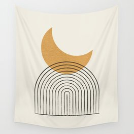 Moon mountain gold - Mid century style Wall Tapestry