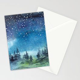 Starry Night over Forest Stationery Cards
