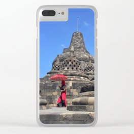 red, rising Clear iPhone Case